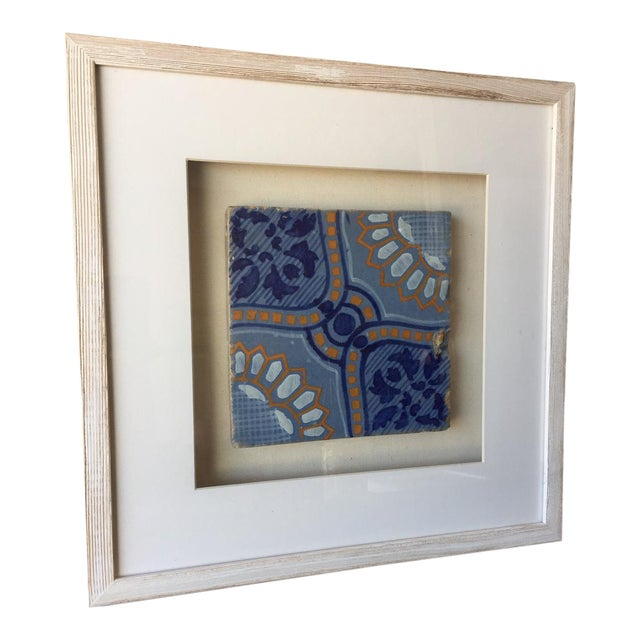 Framed Italian Antique Blue, Yellow, & White Tile For Sale