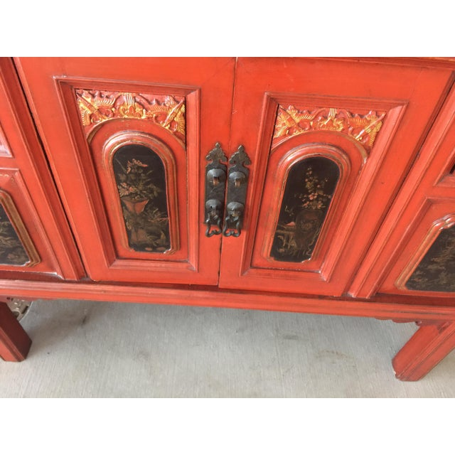 1900 - 1909 Antique Carved Asian Red Lacquer Cabinet For Sale - Image 5 of 11