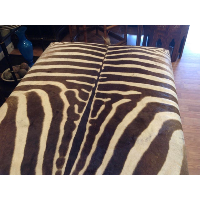 Enormous Zebra Hide Ottoman For Sale In West Palm - Image 6 of 13
