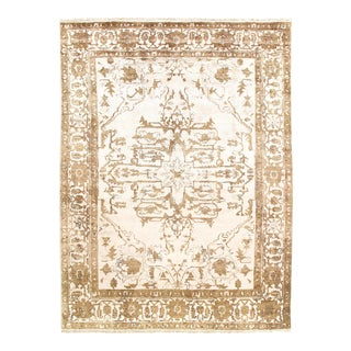 Ivory Fine Hand Knotted Serapi Design 8'7'' X 11'11'' For Sale
