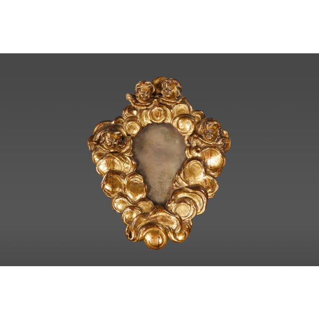Early 18th Century A Rare Italian Baroque Giltwood Mirror For Sale - Image 5 of 5