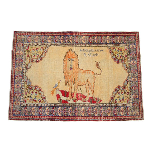 """Antique Turkish Rug Lion Pattern Hand Knotted SuperLow Pile Wool Wall & Area Rug Rare Piece- 4'1"""" X 6' For Sale"""
