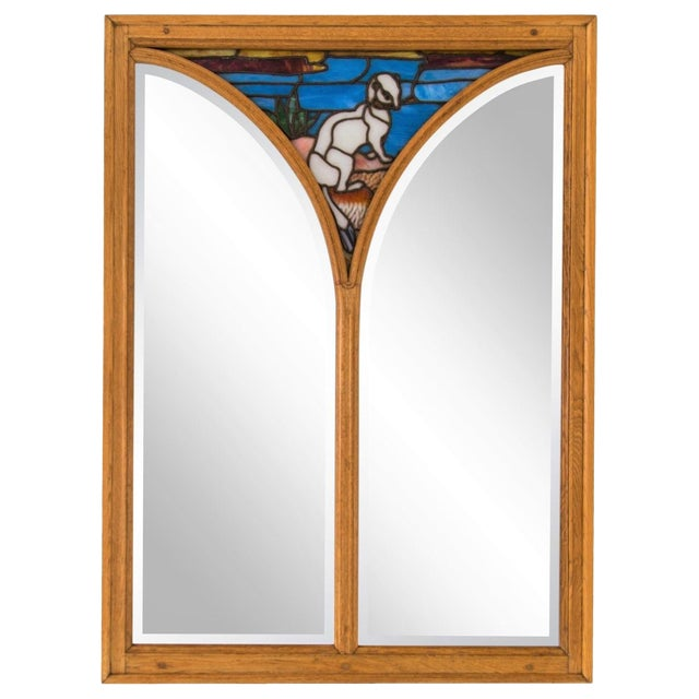 Large Oak Mirror W/ Stained Glass Ermine For Sale