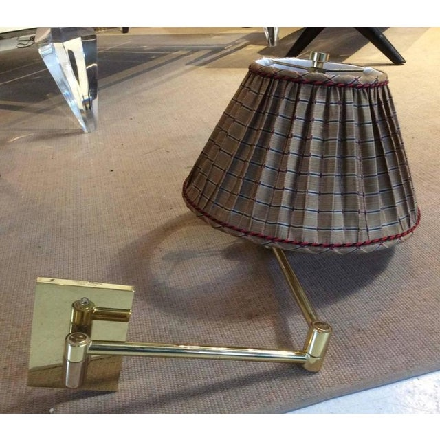 Brass Vintage Hansen Brass Swing Arm Wall Lamps - A Pair For Sale - Image 8 of 9