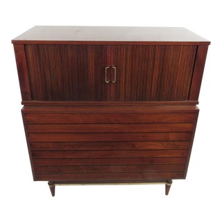 American of Martinsville Vintage Highboy Dresser with Tambour Cabinet