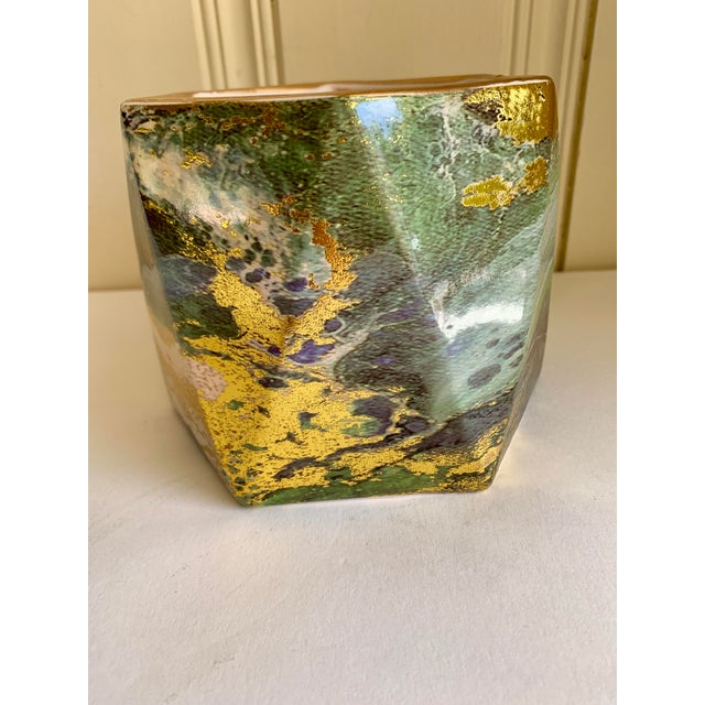 Abstract Geometric Ceramic Pottery Plant Vessel or Vase For Sale - Image 3 of 9