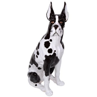 Italian Ceramic Life Size Great Dane Sculpture For Sale