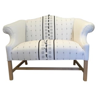 Vintage Mid Century White and Black Tassel Upholstery Settee For Sale