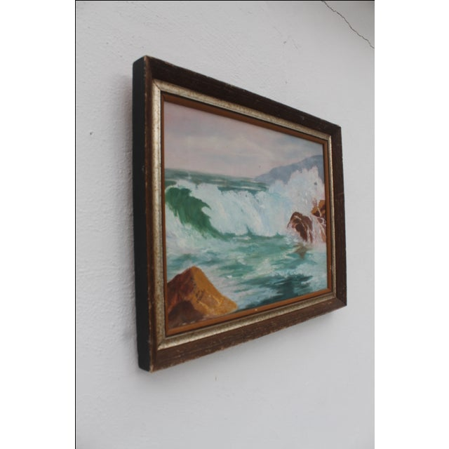French Ocean Scene, Oil Painting by Jean Papenfus For Sale - Image 3 of 11