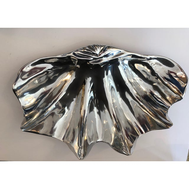 Aluminum Fabulous Large Recently Polished Clam Shells Signed, A- Pair For Sale - Image 7 of 9