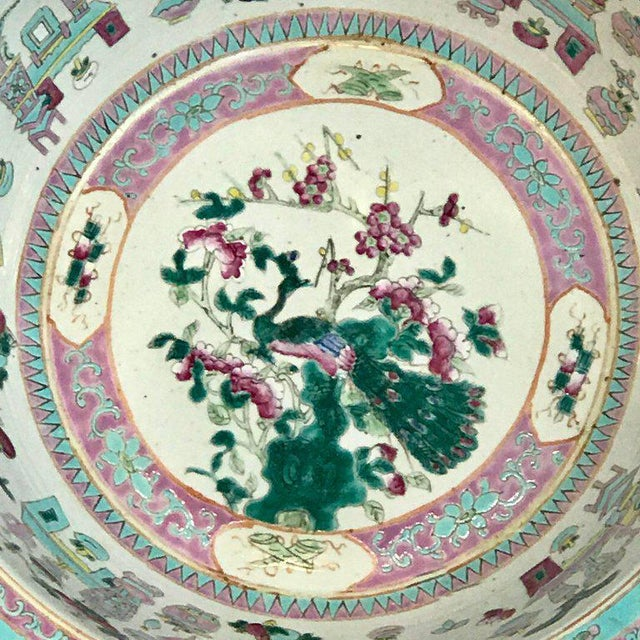 Mid 19th Century Large Qing Dynasty Famille Verte Peacock and Vase Motif Bowl For Sale - Image 5 of 13