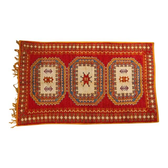 Vintage Moroccan Orange Tribal Rug For Sale