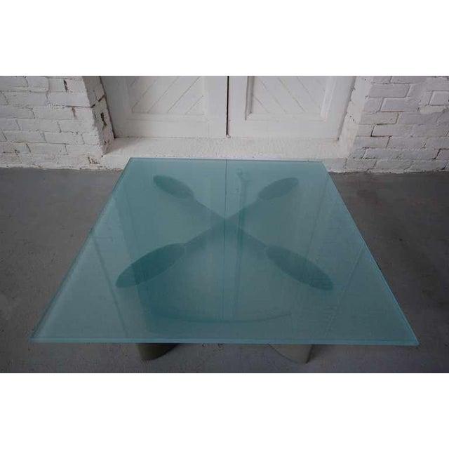 Koch & Lowy cocktail / low table designed by Architect Piotr Sierakowski, circa 1989. Glass, sand blasted on 5 sides (one...