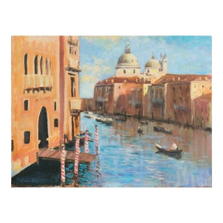 'View of Venice With Santa Maria Della Salute' by Antonio Pippa, Mid-Century Post-Impressionist Oil For Sale