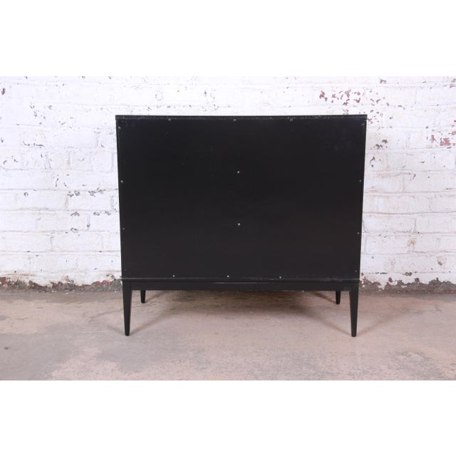 Paul McCobb Planner Group Black Lacquered Three-Drawer Bachelor Chest, Newly Restored For Sale - Image 11 of 13