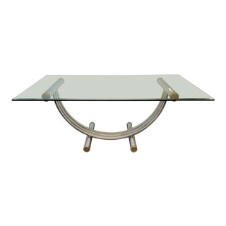 Chrome and Brass Harp Dining Table by Romeo Rega For Sale