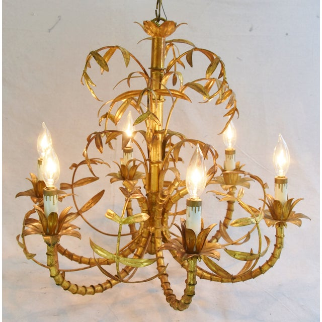 Vintage Italian Six-Arm/Light Gold Gilt Bamboo Tole Chandelier - Image 3 of 11