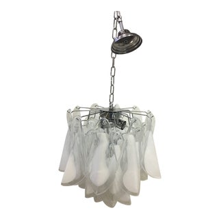 Italian White and Transparent Murano Glass Chrome Metal Frame Chandelier Sputnik For Sale