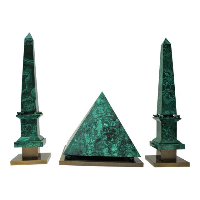 Vintage Claude De Muzac Malachite Pyramid & Obelisks - Set of 3 For Sale