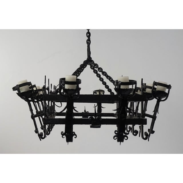 1920s Henry III Style Hand Wrought Iron Chandelier For Sale - Image 5 of 10
