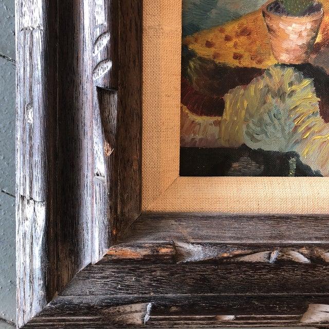 Original Vintage Mid Century Geranium Still Life Painting For Sale - Image 4 of 7