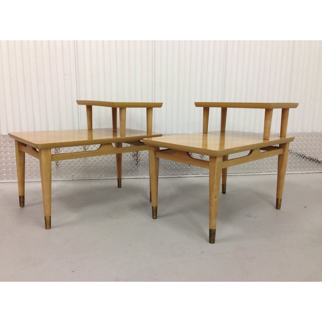 Mid-Century Modern Two-Tiered End Tables - A Pair - Image 3 of 6