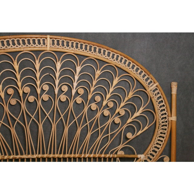 Boho Chic Wicker Peacock Headboard For Sale - Image 5 of 11