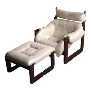 1970s Vintage Pearlescent Ivory Percival Lafer Rosewood Framed Lounge Chair & Ottoman For Sale