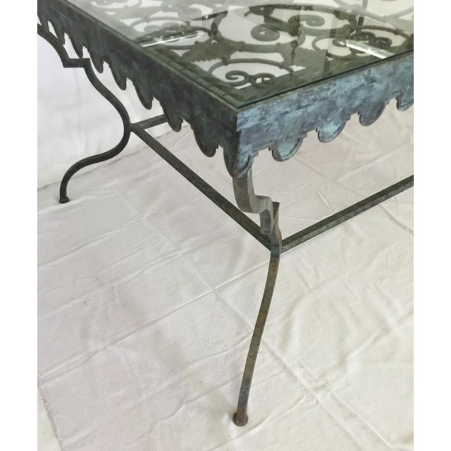 1940s 1940s French Provincial Iron Table With Glass Top For Sale - Image 5 of 13
