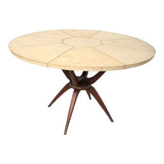 1950s Goatskin Mahogany and Brass Mexican Modernism Table For Sale