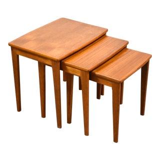 Danish Modern Teak Nesting Tables Mid Century Modern For Sale