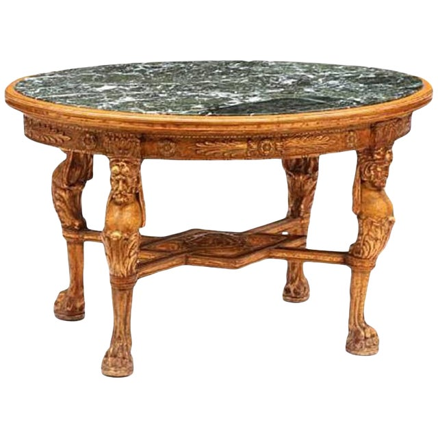 Regence Style Giltwood and Marble Oval Low Table For Sale