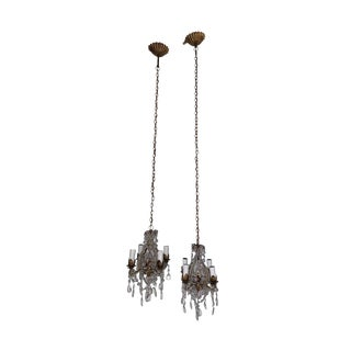 1920s Crystal Beaded Italian Pendant Chandeliers - a Pair For Sale