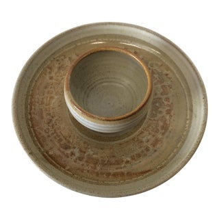Signed Mid-Century Ceramic Chip N' Dip Dish For Sale