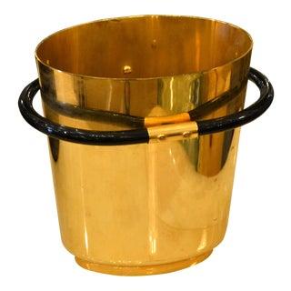 Italian Art Deco Style 24k Gold Plated on Brass Objets d'Arts Ice Bucket Vessel For Sale