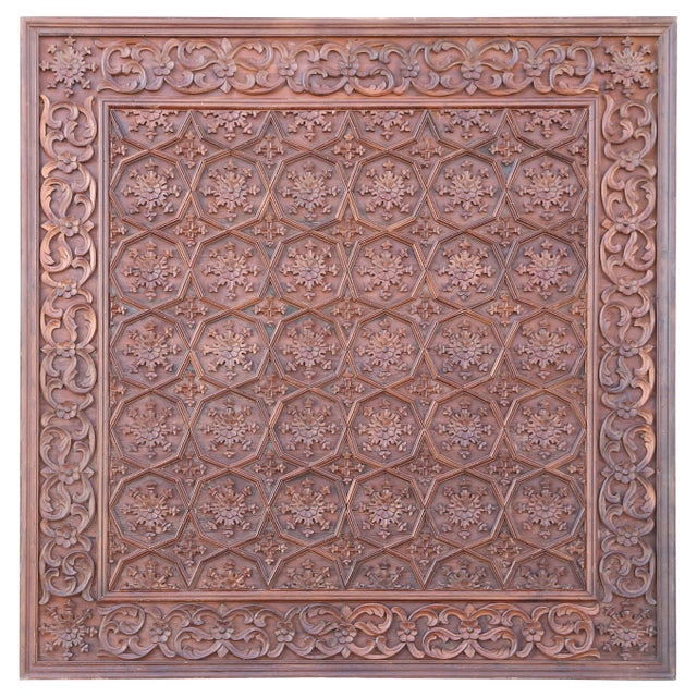 1880s Carved Solid Teak Wood Ceiling From Temple in Deccan For Sale - Image 11 of 11