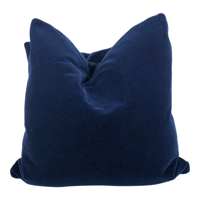 "Royal Blue Mohair 22"" Pillows-A Pair For Sale"