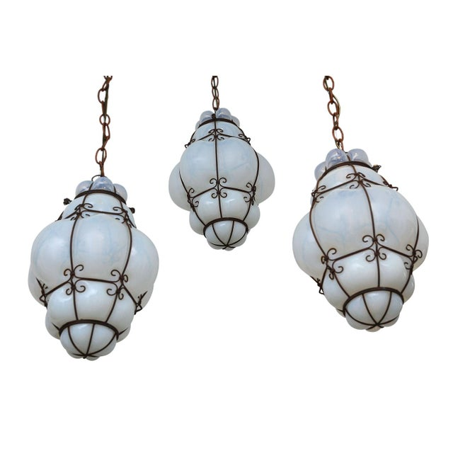 1930s Three Caged Glass Italian Pendants For Sale - Image 5 of 13