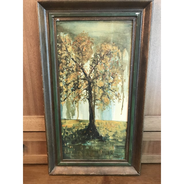 This is a vintage oil painting on board in its original frame. The frame is slightly distressed from age as you can see in...