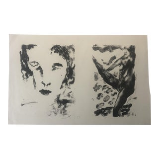 """""""Two Figures"""" Modern Lithograph by Dellas Henke, 1979 For Sale"""