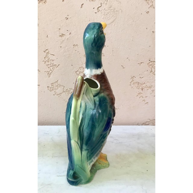 1900 - 1909 Majolica Duck Pitcher Saint Clement Circa 1900 For Sale - Image 5 of 7