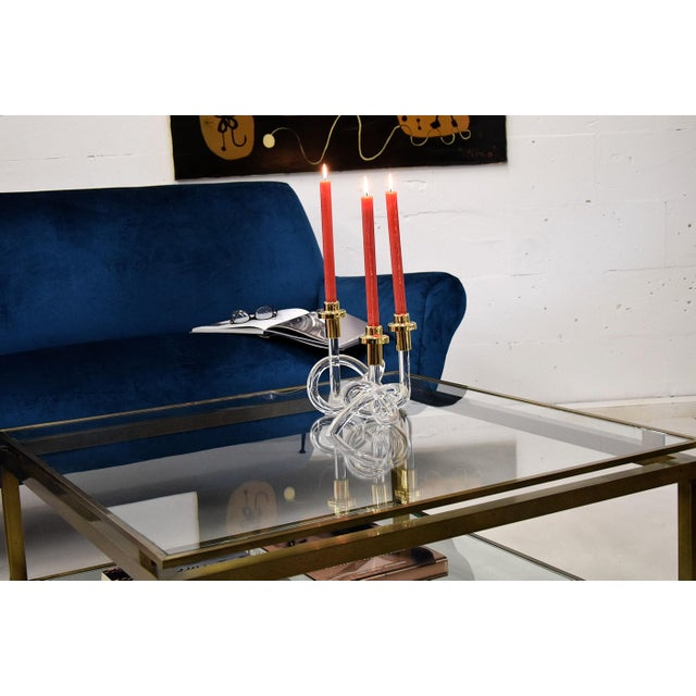 Dorothy Thorpe Gold and Lucite Candlestick Holders by Dorothy Thorpe 1940 For Sale - Image 4 of 11