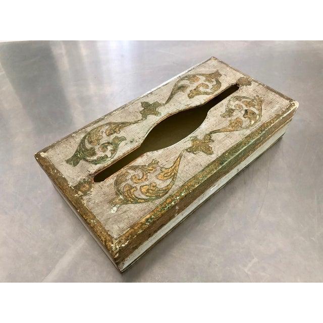 Shabby Chic 1950s Vintage Florentine Gold Gilt Glam Tissue Holder Box Cover For Sale - Image 3 of 9
