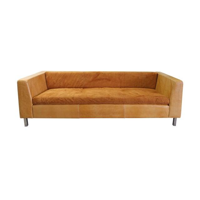 Modern Brazilian Brown Suede Sofa - Image 1 of 5