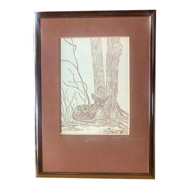 Gwen Frostic Deer Block Print For Sale