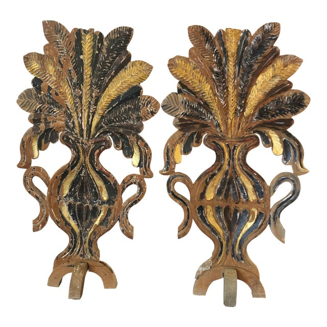 Mid 19th Century Antique Carved Painted Gilded Fireplace Screens Sculptures - A Pair For Sale