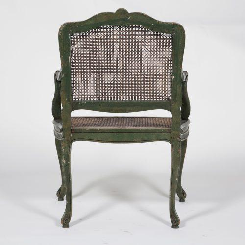 French Country Classic French Green Armchair For Sale - Image 3 of 7
