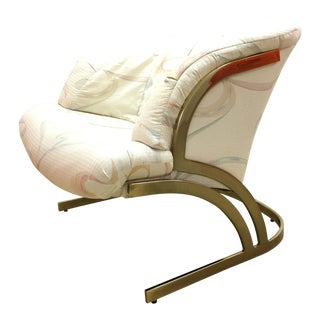 Milo Baughman Cantilever Brass Lounge Chair For Sale