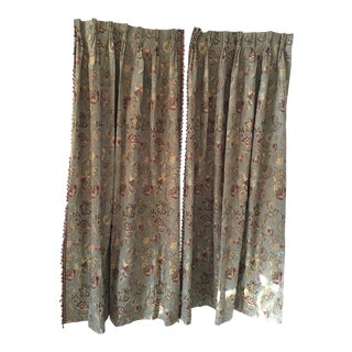 Custom Made Sage Green Curtains - A Pair For Sale