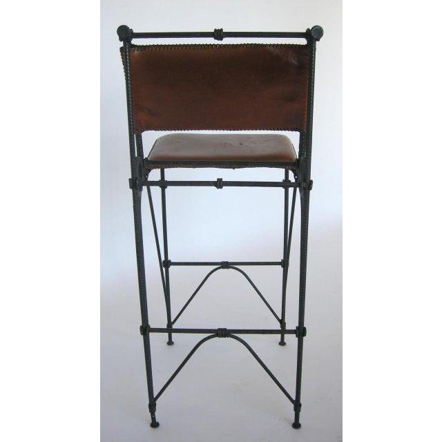 1980s Set of Five Illana Goor Iron Bar Stools For Sale - Image 5 of 11